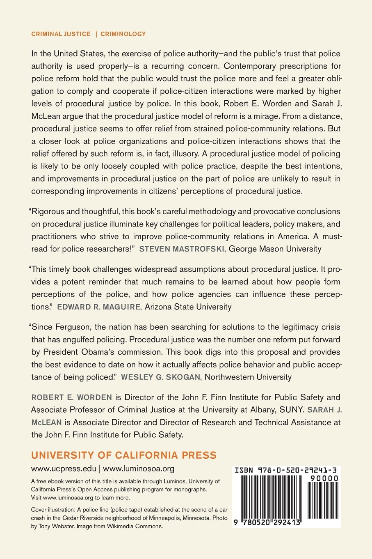 Mirage Of Police Reform: Procedural Justice And Police Legitimacy: Prof  Robert E Worden, Sarah J Mclean: 9780520292413: Amazon: Books