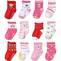 Yafane 12 Pares de Calcetines Antideslizantes para Niños Niñas Recien Nacido Unisex Pequeños Algodón Lindo con Puños…