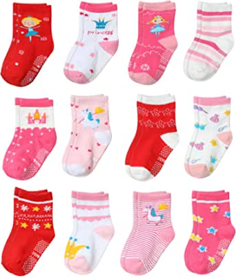 Yafane 12 Pares de Calcetines Antideslizantes para Niños Niñas Recien Nacido Unisex Pequeños Algodón Lindo con Puños Calcetines Antideslizantes para Bebés
