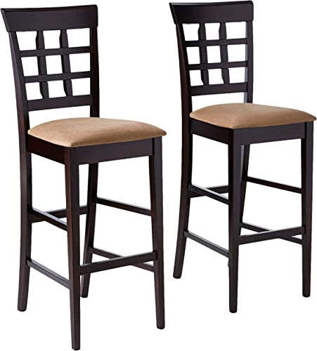 Coaster Home Furnishings CO-100210 Bar Stool, Set Of 2, Cappuccino Tan