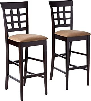 Amazon Com Coaster Home Furnishings Co Bar Stool Set Of 2 Cappuccino Tan Furniture Decor
