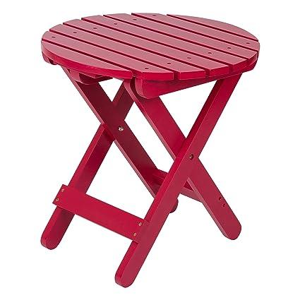 Delicieux Shine Company Adirondack Round Folding Table, Tomato Red