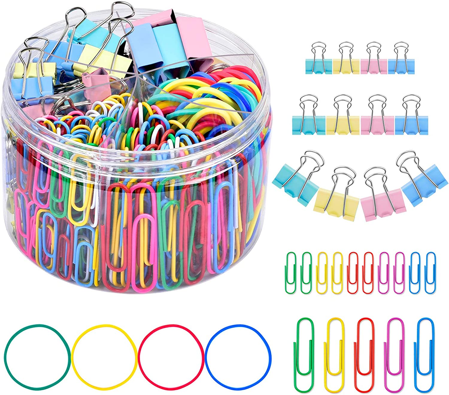 Binder Clips Paper Clips, Sopito 300pcs Colored Office Clips Set with Paper Clamps Paperclips Rubber Bands for Office and School Supplies, Assorted Sizes