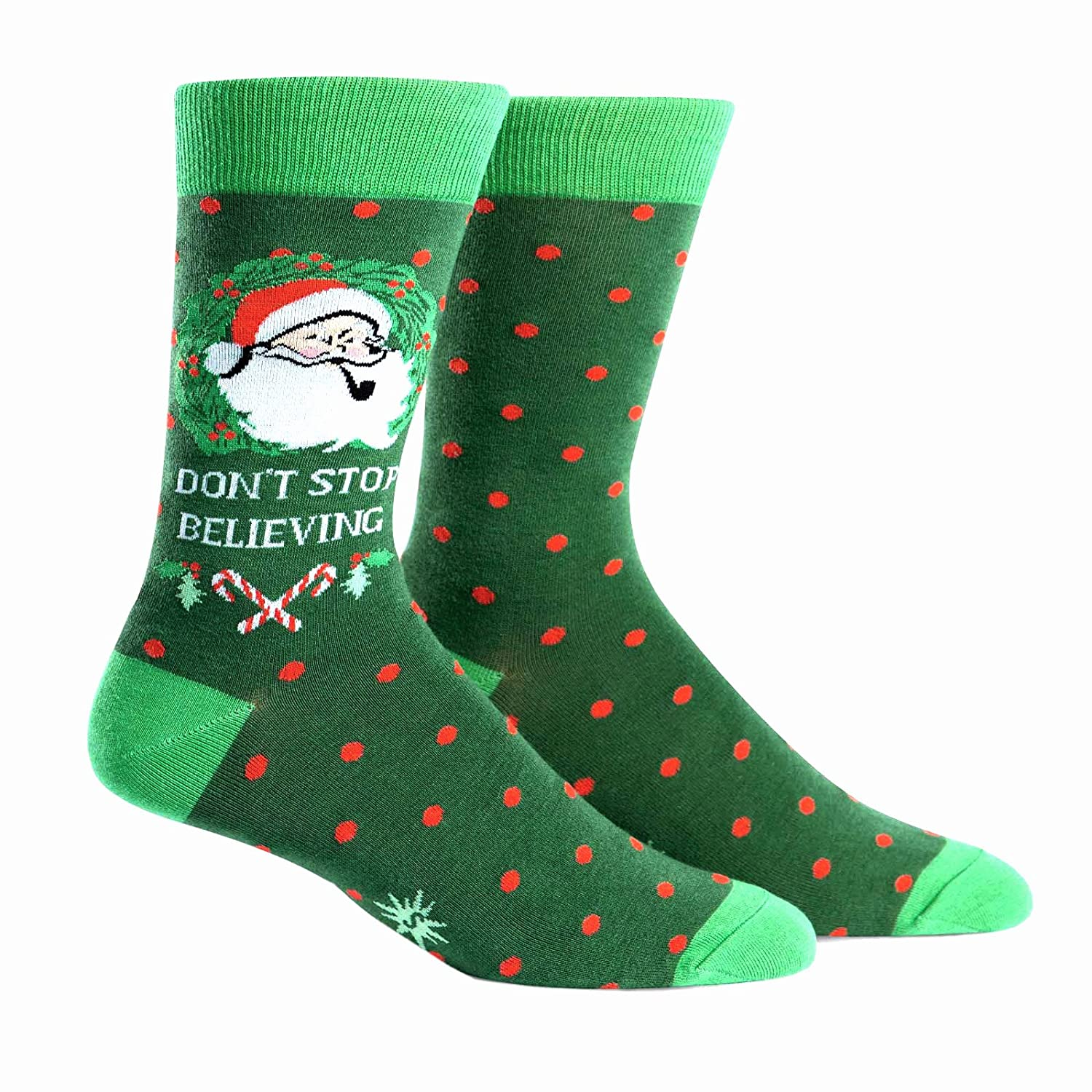 Sock It To Me Men's Santa Claus Crew Socks - Don't Stop Believing MEF0192