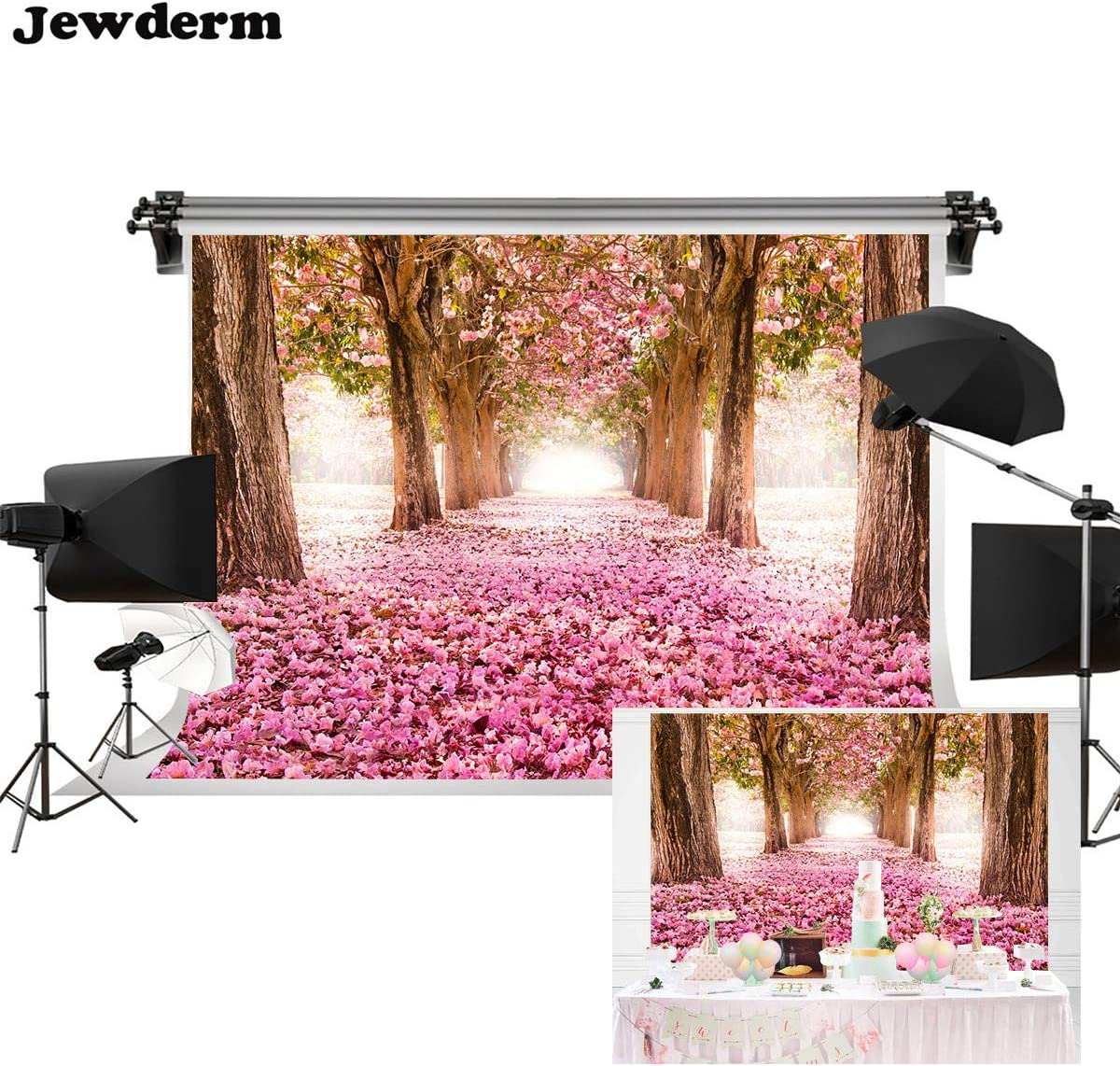 Pink Jewderm 9x6ft Pink Flower Road with Trees Photography Backdrop Wedding Floral Wall Backdrop Dessert Table Decoration Blush Background for Photography