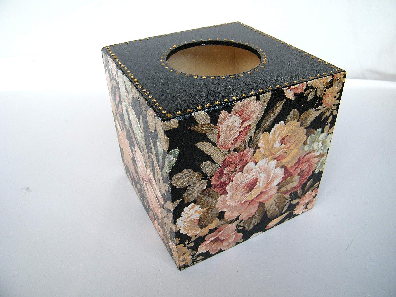 Caja de Pañuelos, Portatoallitas Faciales Caja de Madera Cubo Dispensador de Papel Servilletas Toallitas, Negra con Flores 13x13x13 cm: Amazon.es: Handmade