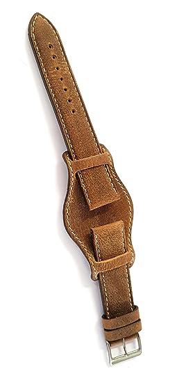 Correa Kudu con badana. Piel de antílope Acolchado Made in Italy 18-16 marrón
