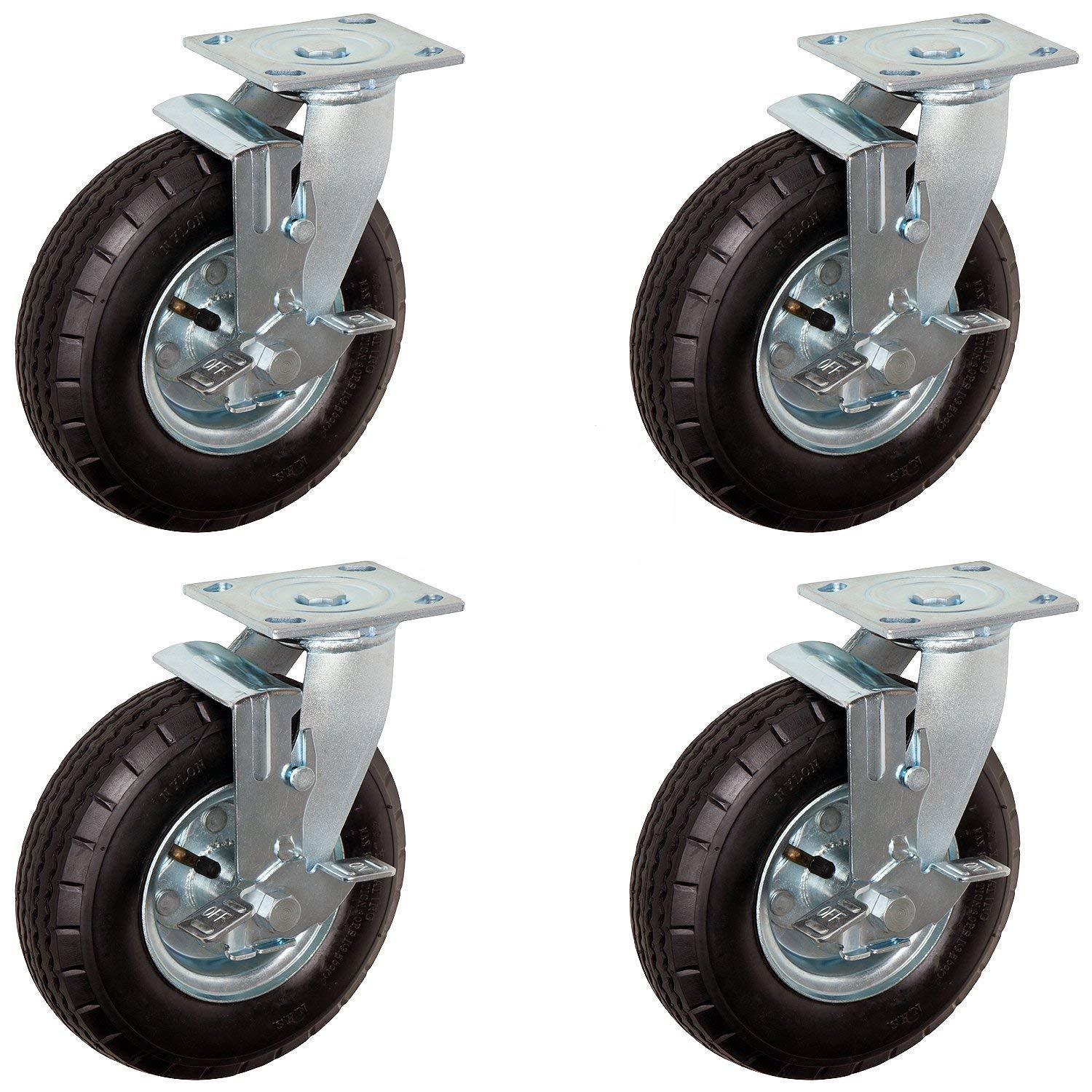 CasterHQ 10'' x 3.5'' Swivel of 4 Set Pneumatic Caster - 4 PLY - 350 LBS PER 1400 LBS PER Set Capacity - Air Filled - Commercial/Industrial Application 10 inch x 3.5 inch Shock Absorption