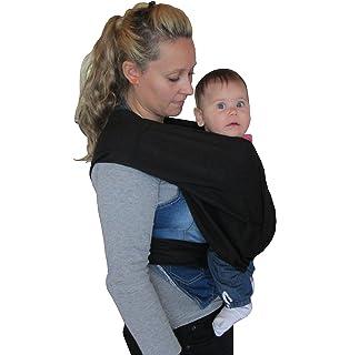 188cb8df488 Porte bébé écharpe de portage sans noeud noir réglable