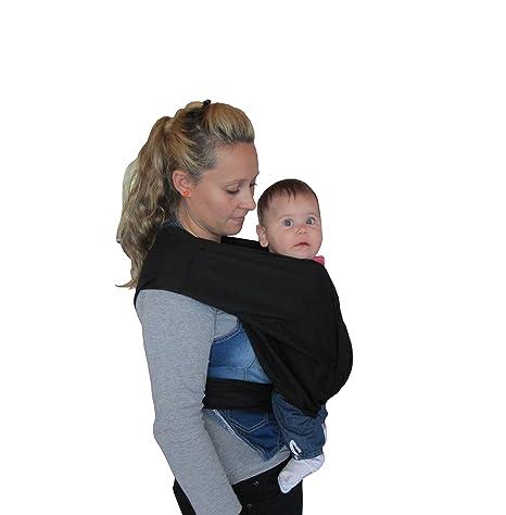 844dc53f3bd4 Porte bébé écharpe de portage sans noeud noir réglable  Amazon.fr ...