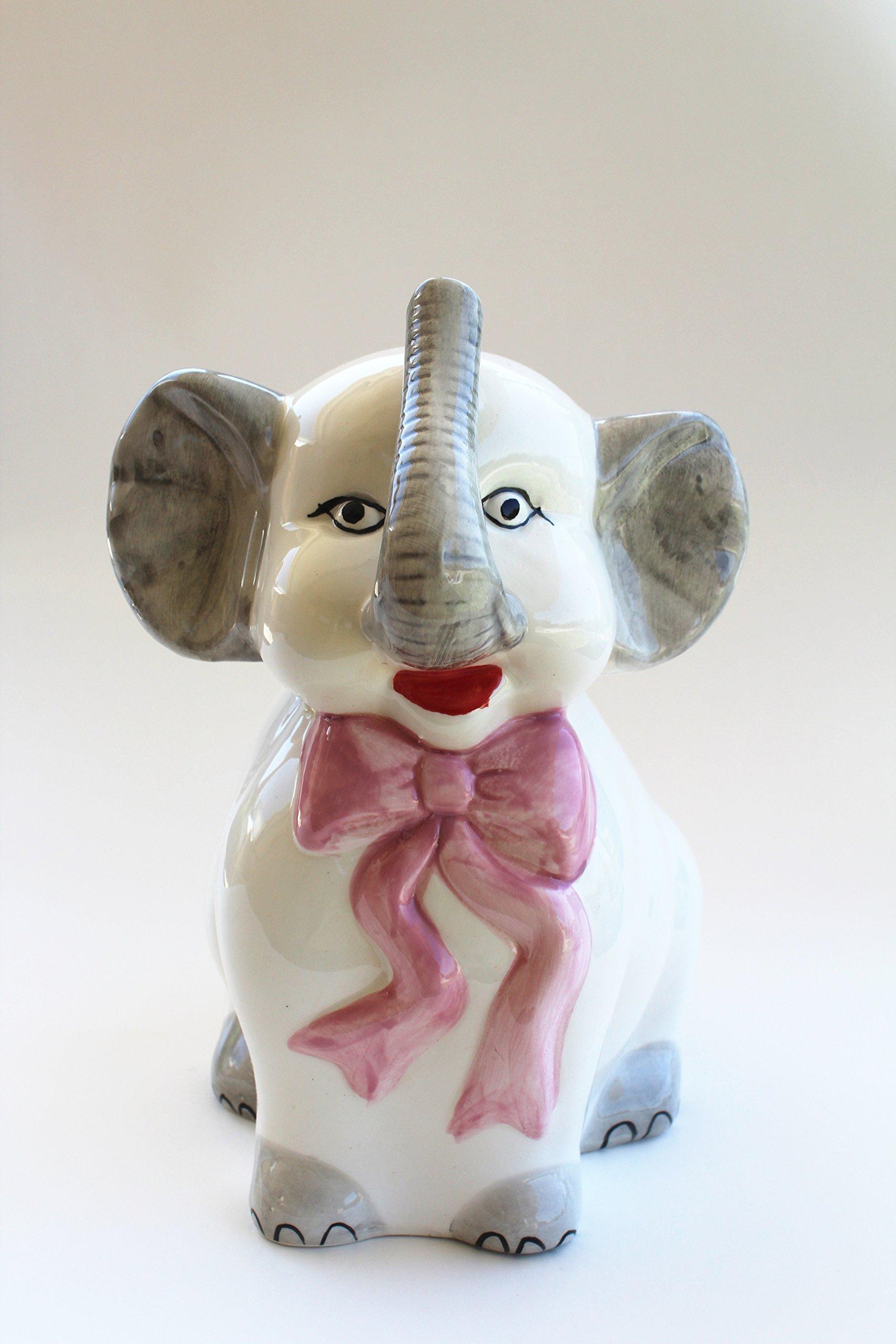 Eskyshop Elegant Cute Ceramic Kitty Cat Bear Dog Elephant Toilet Brush and Holder With Brush (Elephant)