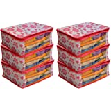Kuber Industries™ Non Woven Saree Cover Pink Floral Design Set of 6 Pcs