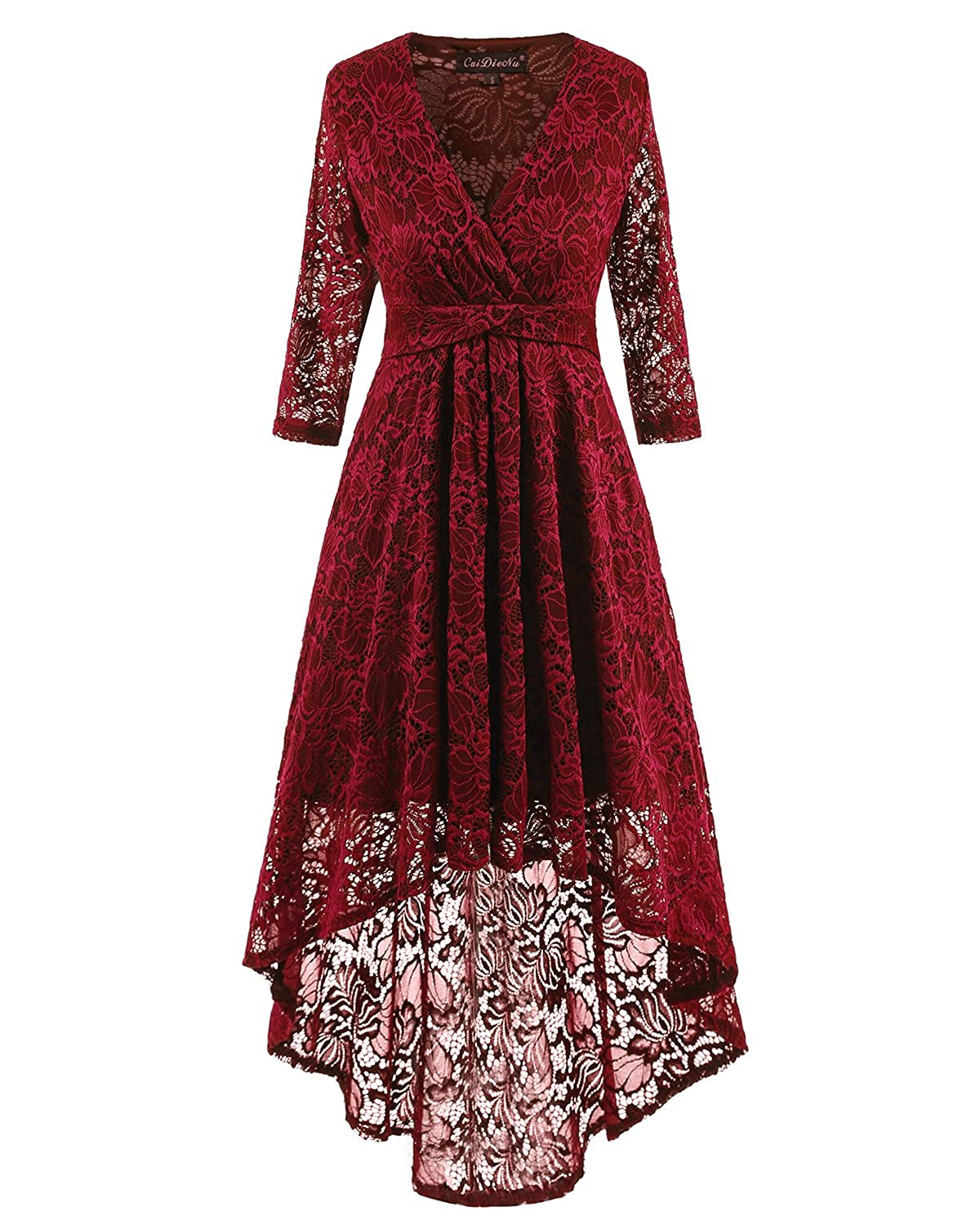 Adodress Women's Long Sleeve Lace Prom Dresses Formal Retro Vintage Swing Party Cocktail Dresses S-XXL