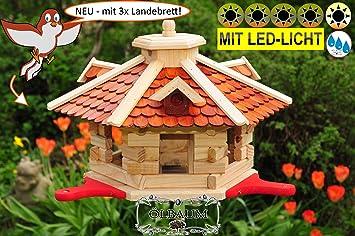 Led Beleuchtung Vögel | Btv Haus Garten Vollholz Vogelhausbtv Olbaum Vogel Futterhaus Mit