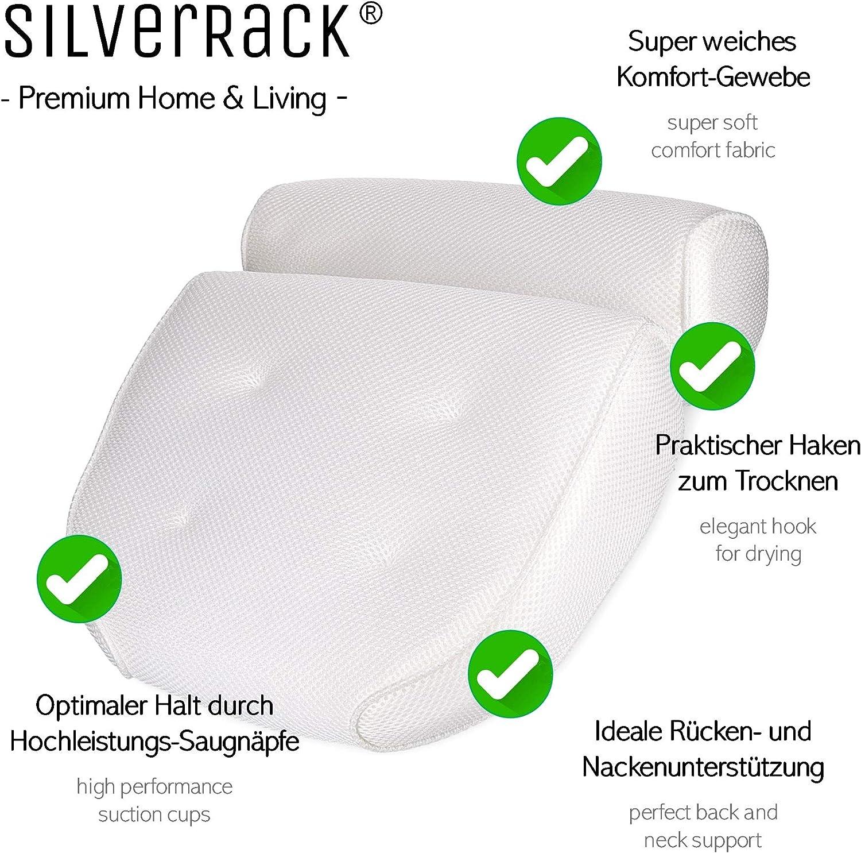Bianco Colore SilverRack Cuscino per Vasca da Bagno con Ventose