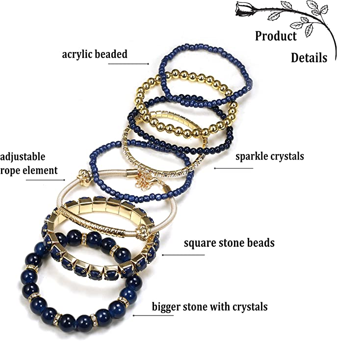 I Do CrewBoho ribbons for JGA Elastic bracelet setselection of 6 motifswedding rings with golden heartinfinity pendant