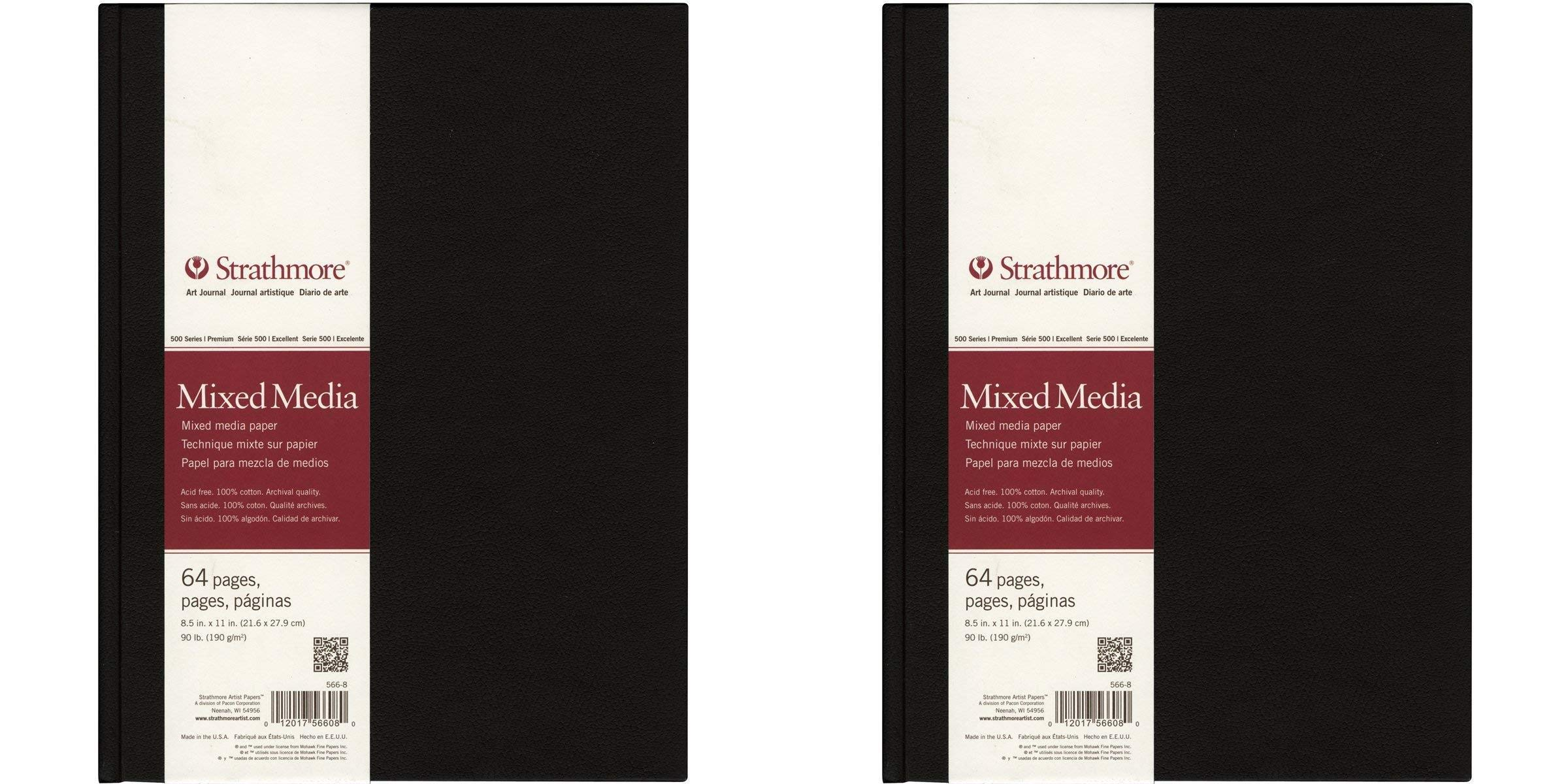 Strathmore 566-8 500 Series Hardbound Mixed Media Art Journal, 8.5''x11'' 32 Sheets Pack of 2 by Strathmore