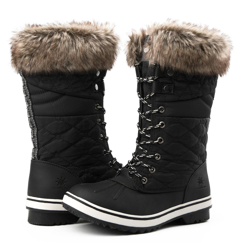 Global Win GLOBALWIN Women's 1730 Winter Snow Boots B0756JZ6HD 7 B(M) US|1732black