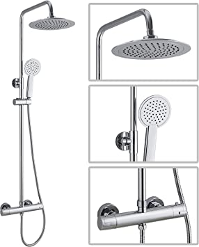 Premium Round Thermostatic Dual Control Overhead Rain Shower Bar Valve Mixer Kit Chrome With Easy Fit Kit Tmv2 Wras Approved Amazon Co Uk Diy Tools