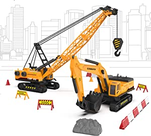 Construction Trucks Toy Vehicles Playset, Set of Crane & Excavator with Road Sign Accessories(36pcs), Construction Sandbox Toy Site for Boy, Gift for Age 3 and up Toddlers Kids Children Present