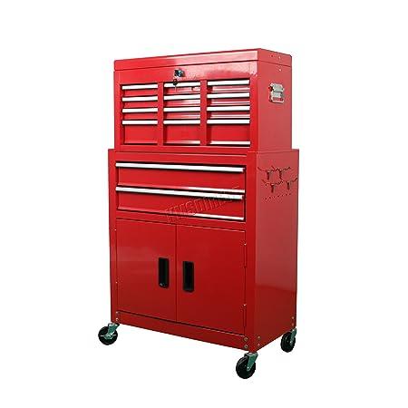 FoxHunter Metal Tool Box Chest Cabinet Portable Rolling Storage Organizer  Garage Steel Mechanic Metal Cart Toolbox
