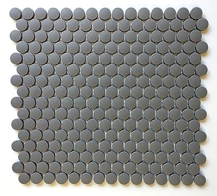 Penny Round 3 4 Unglazed Matte Iron Porcelain Mosaic Wall Floor