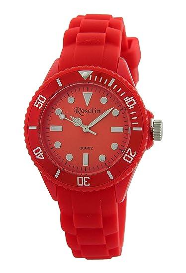 Roselin Beach, correa silicona rojo, caja policarbonato, 5 ATM. Bolsa hermética de regalo: Amazon.es: Relojes