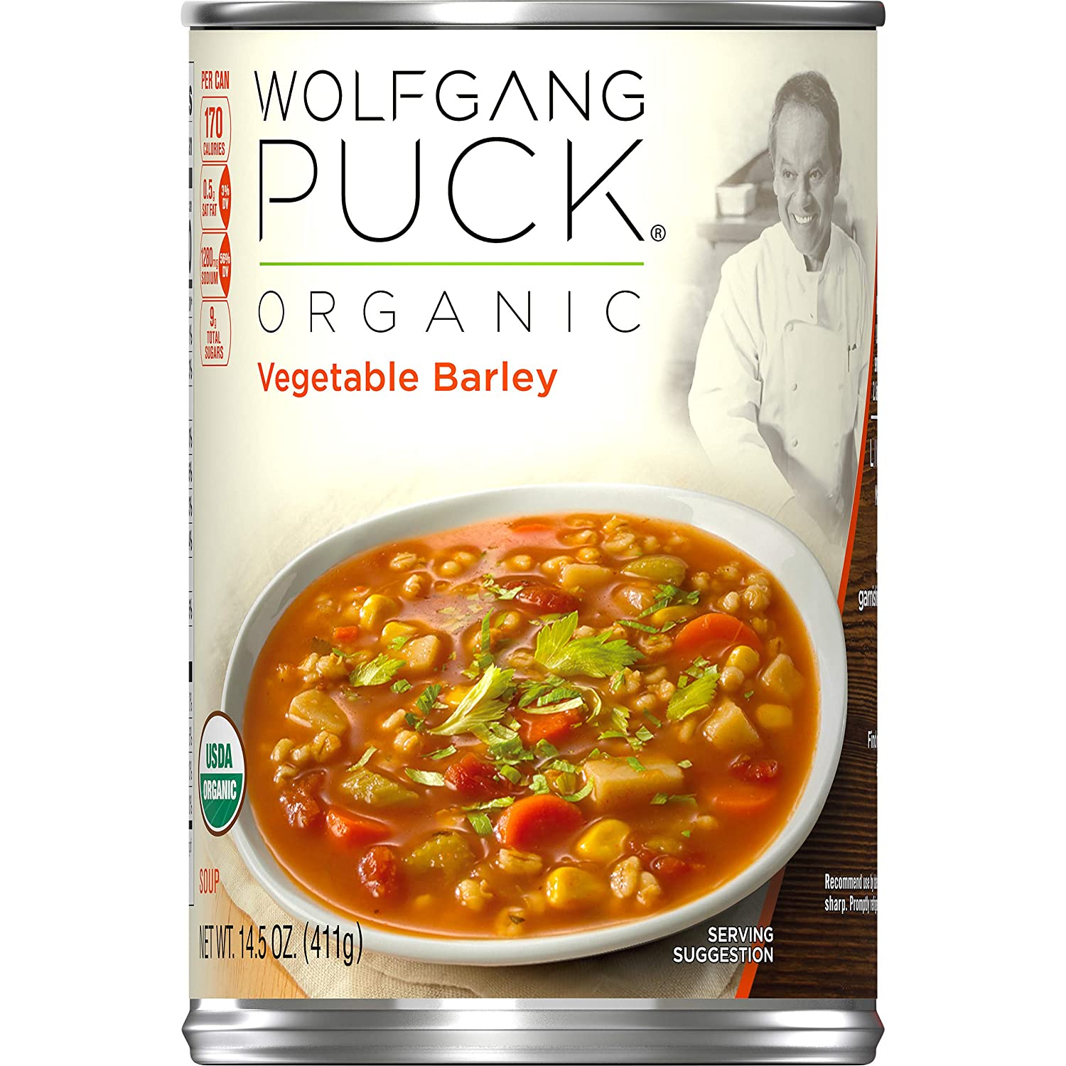 Wolfgang Puck Organic Vegetable Barley Soup, 14.5 oz. Can (Pack of 12)