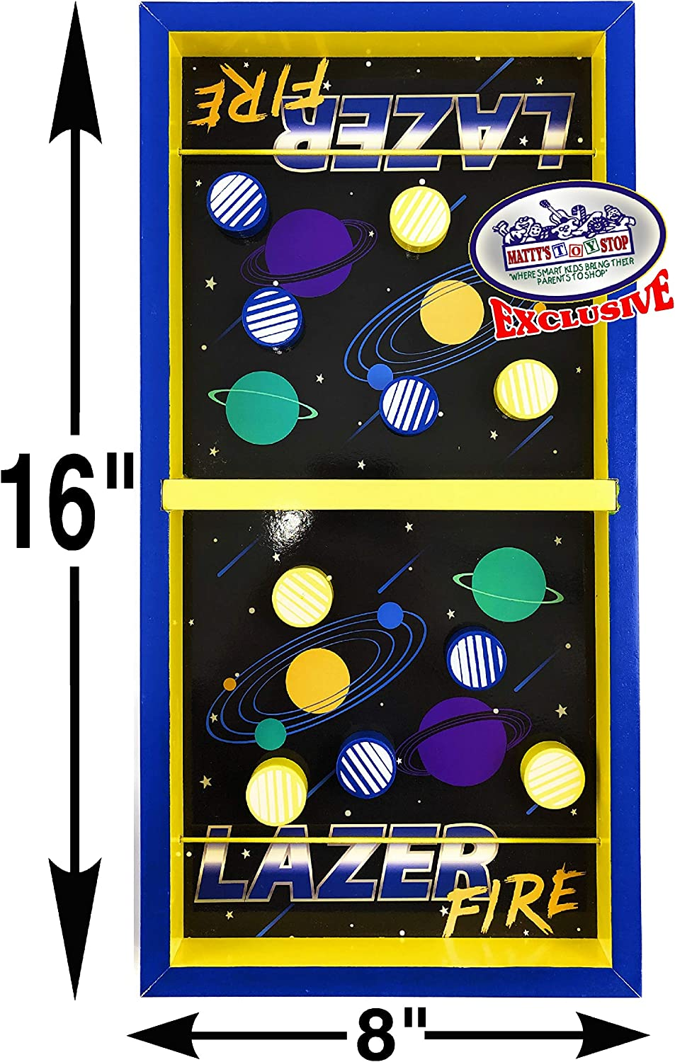 2 Pack Mattys Toy Stop Deluxe Wood Tabletop Neon Lazer Space Pinball /& Neon Lazer Space Fire Fast-Track Games Gift Set Bundle