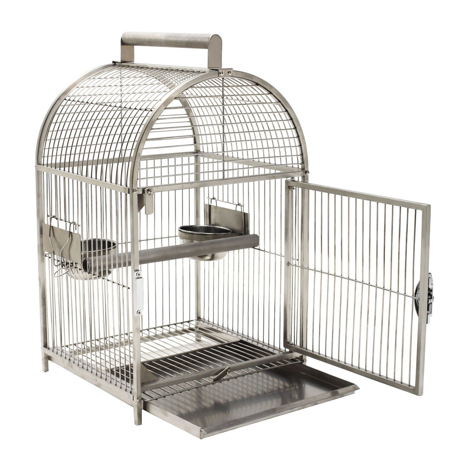 "Pawhut 25"" Dome Top Stainless Steel Travel Bird Cage D10-039"