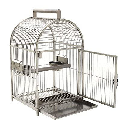 33888f96e69a2 Buy Pawhut 25 Dome Top Stainless Steel Travel Bird Cage Online at ...