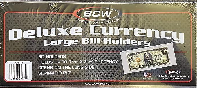 Large Bill BCW 1-SR-LB Semi-Rigid Currency Holder