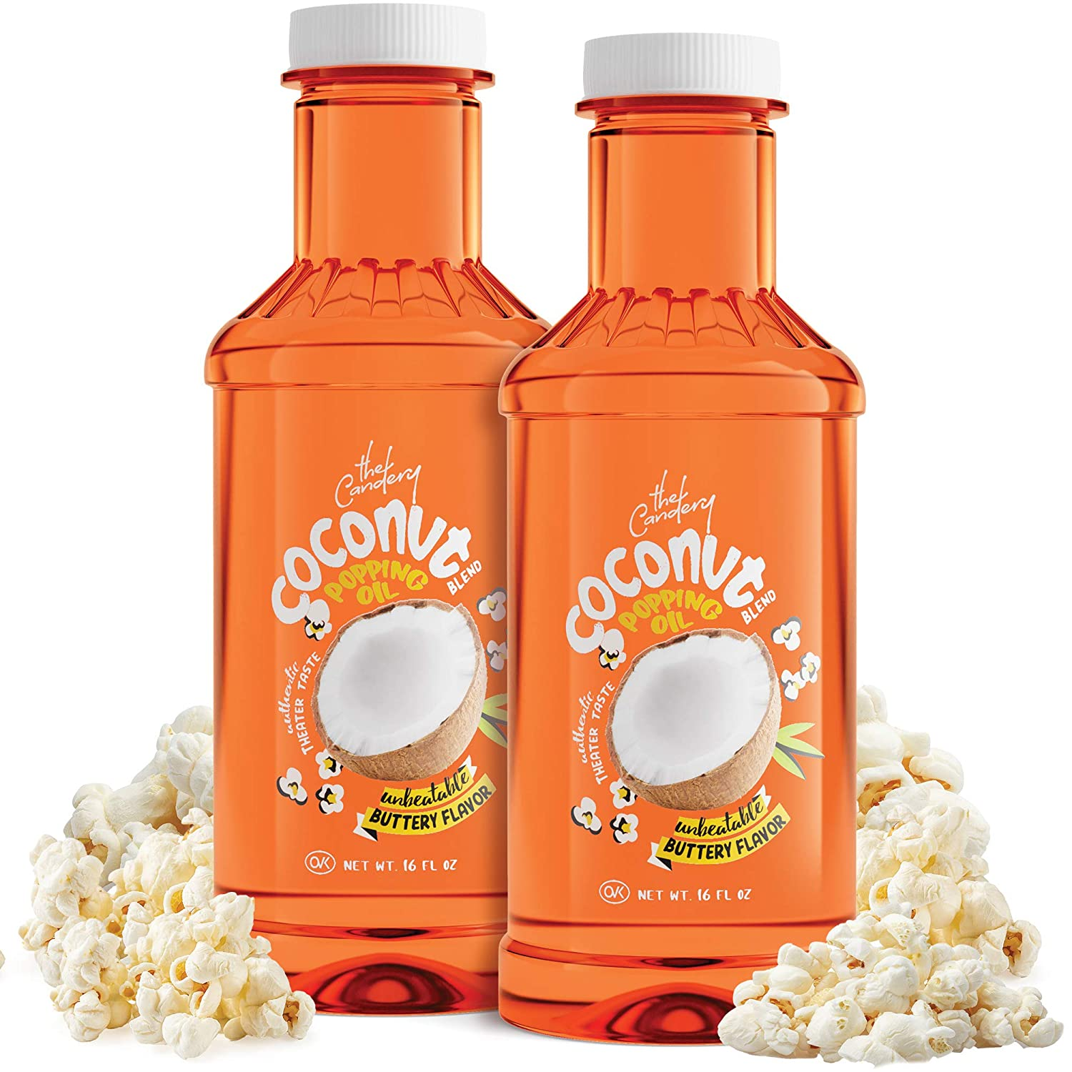 32 oz Coconut Popcorn Popping and Topping Oil Soy Blend with Authentic Theater Butter Flavor - Pop Corn Oil Liquid Form for The Movie Theater Experience at Home - 2 Pack (16 oz Each) - by The Candery