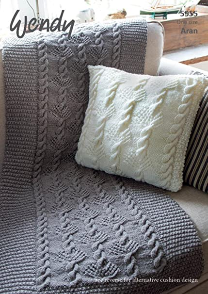 Wendy Aran Throw And Cushion Knitting Pattern Leaflet 5955 Amazon