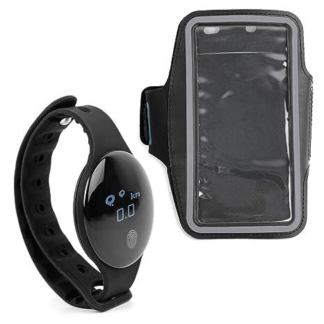DURAGADGET Reloj/Pulsera de Actividad + Brazalete Deportivo Negro para Smartphone Huawei P20, Huawei