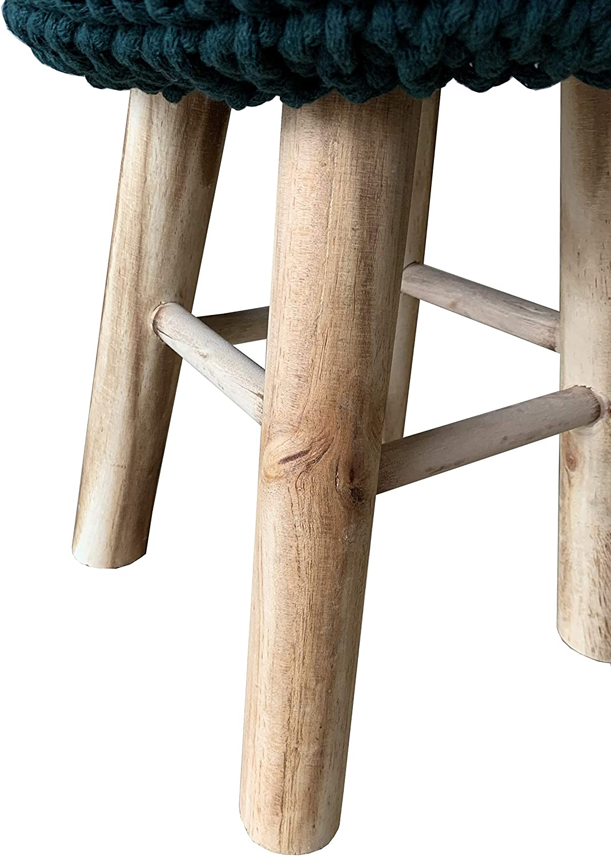 MOEBLO Hocker Sitzhocker Fußhocker Strickhocker Holz Stuhl Hygge Design (Grün) Hellrosa