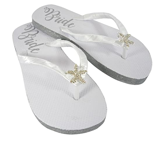 b7f0ced0630d3 Amazon.com  Starfish Design your own Glitter Wedding Flip Flops with  Shimmer Bride Sole and Rhinestone Center  Handmade