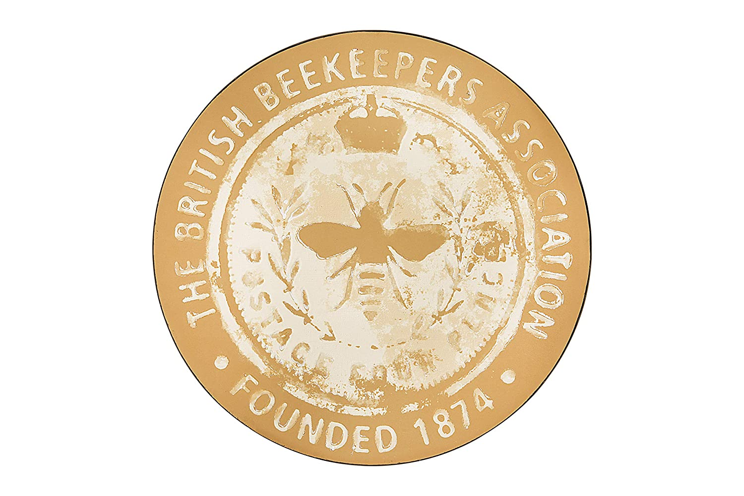 "Creative Co-op ""The British Beekeepers Association - Founded 1874"" Round Tin Wall Décor"