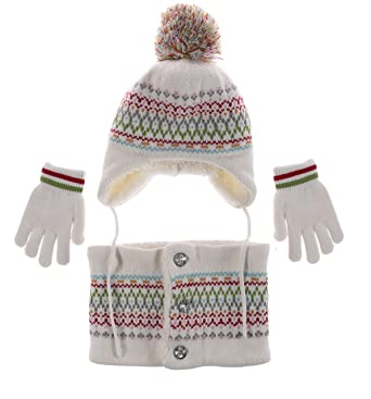 4e3dfb42a4d Ailly Baby Hat Gloves Scarf Warm Knit Earflap Beanie Children Wear Tube  Scarf Thick Toddler Snow