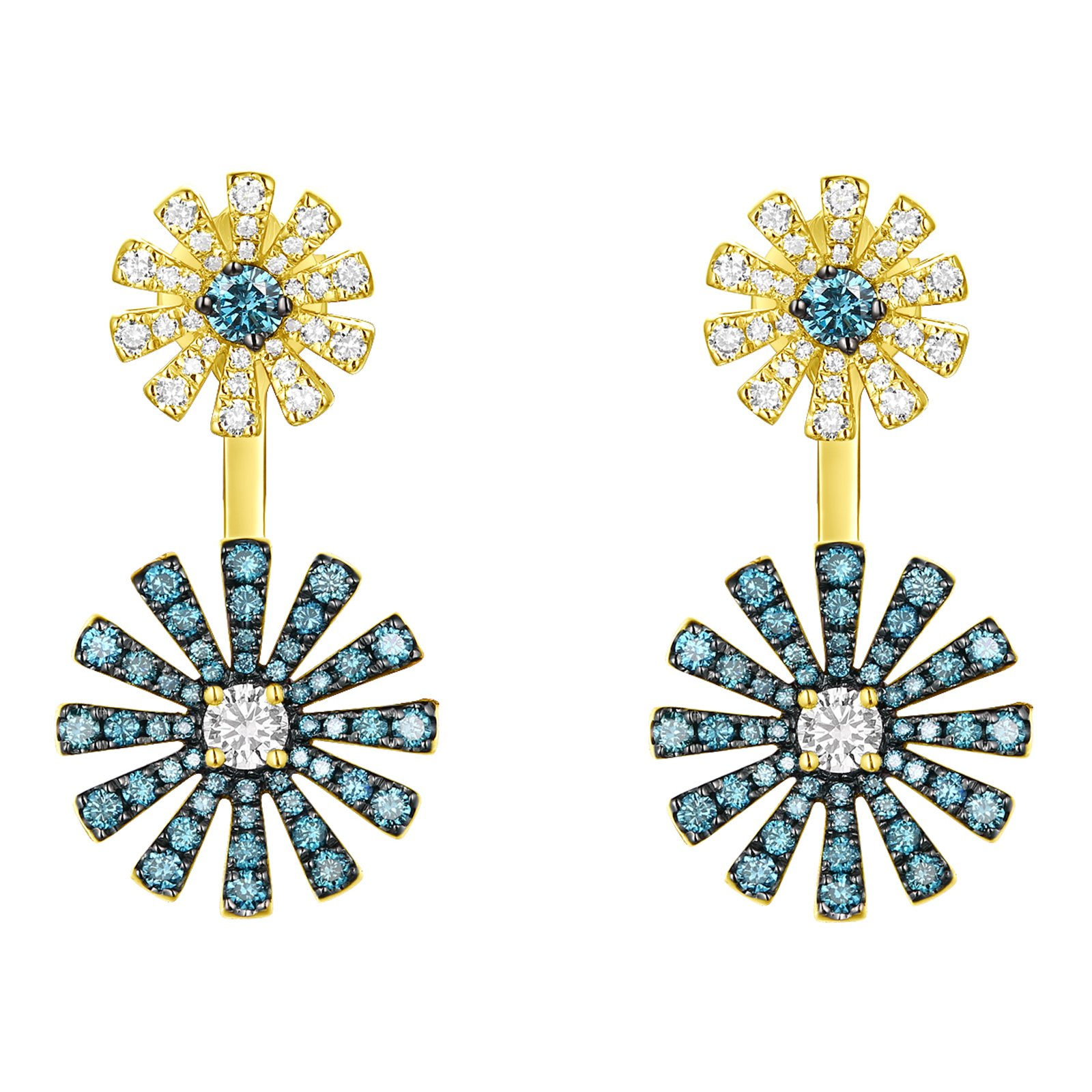 Prism Jewel 1.14Ct Ice Blue/SI1 Diamond With G-H/SI1 Diamond Front Back Push Back Earring, 10k Yellow Gold