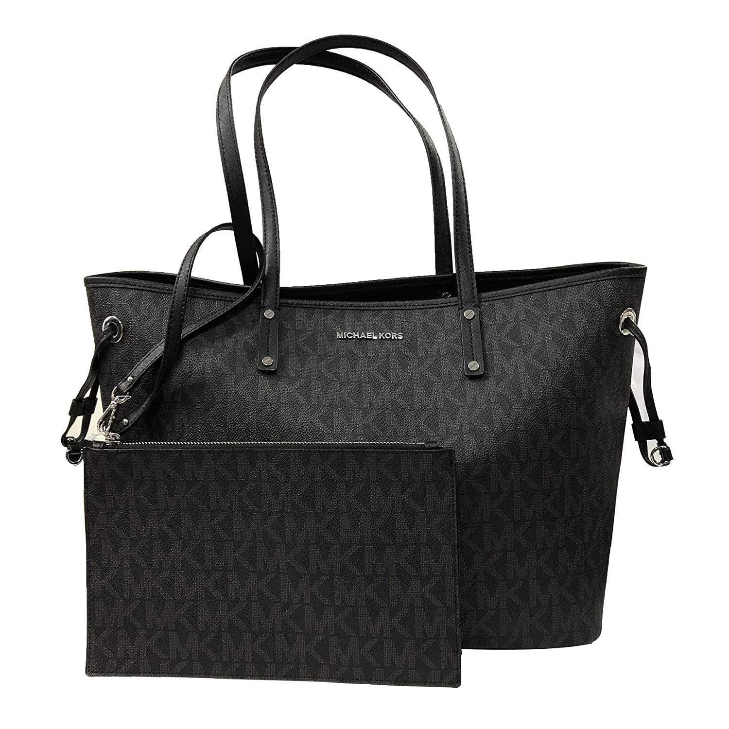7f253e22d0f5 Amazon.com: Michael Kors Large Drawstring Signature Tote Purse (Black PVC):  Shoes