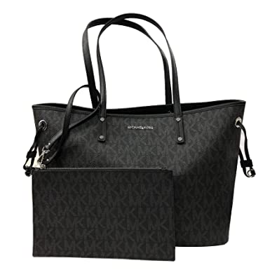 3c5ddcb7de1e Amazon.com  Michael Kors Large Drawstring Signature Tote Purse (Black PVC)   Shoes