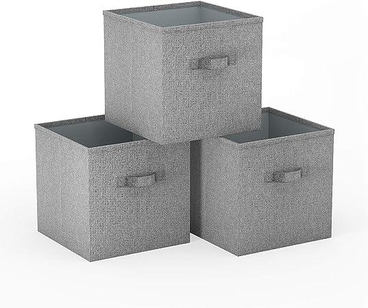 SimpleHome 3 Grises Caja almacenaje Plegables de arpillera para kallax, 33x37x33cm.: Amazon.es: Hogar