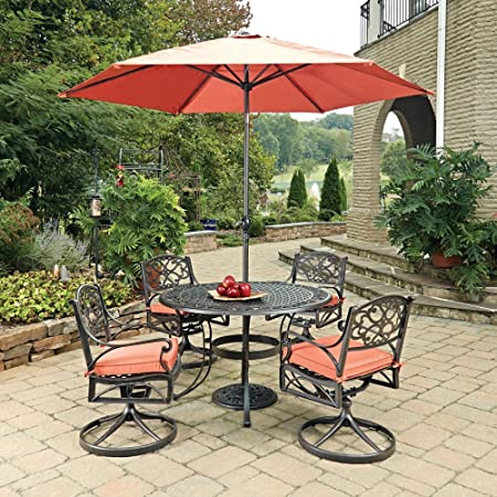 Home Styles 5555-3286C 7 Piece Biscayne Round 4 Arm Chairs with Cushions, Black Rust Bronze