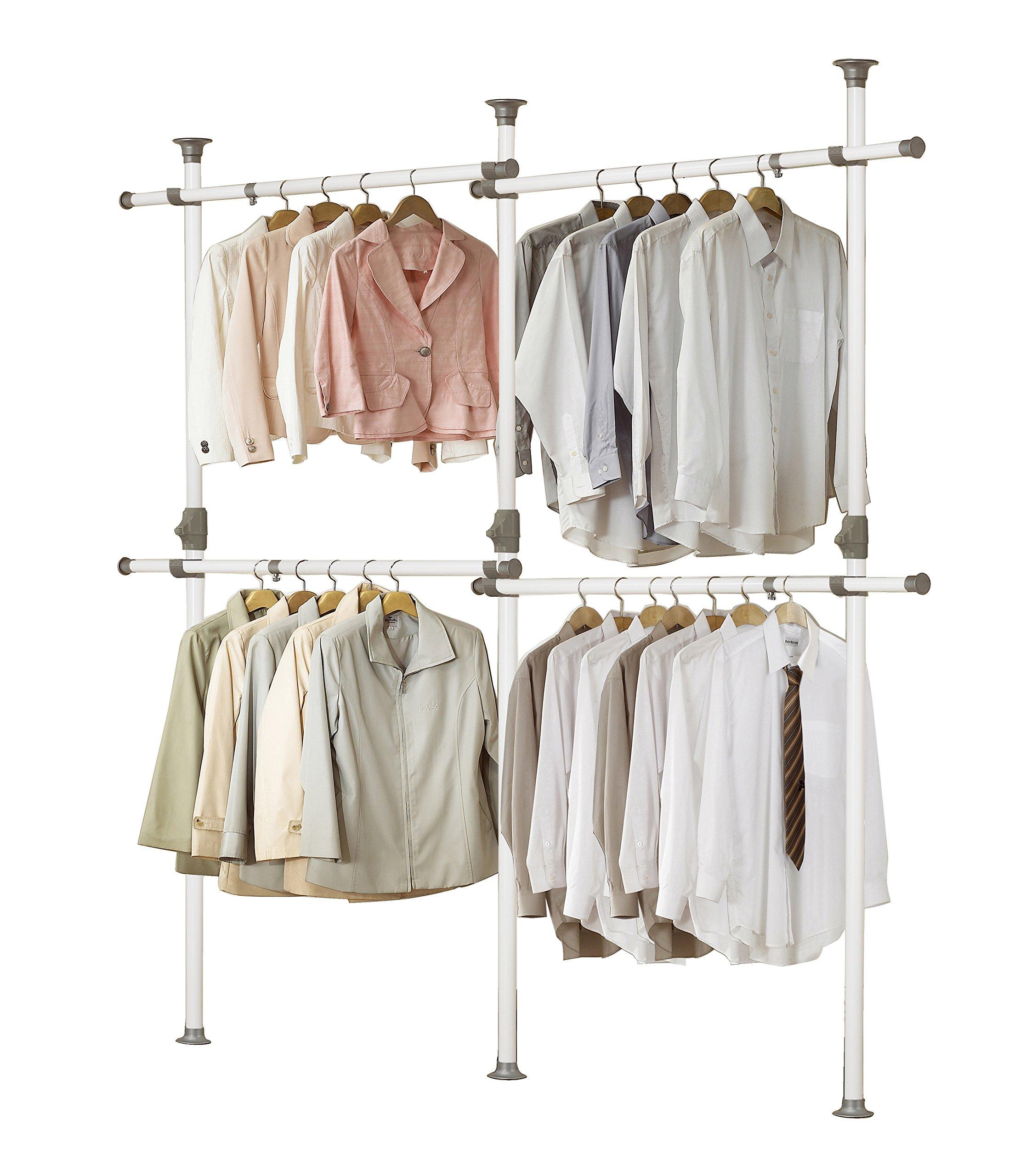 PRINCE HANGER | One Touch Double 2 Tier Adjustable Hanger | Holding 80kg(176LB) per horizontal bar | Clothing Rack | Closet Organizer | 38mm Vertical pole | Heavy Duty | Garment Rack | PHUS-0033
