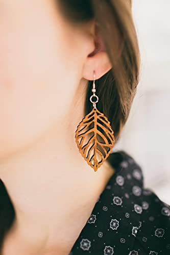 Wood Leaf Earrings from Solid Mahogany Stained Reclaimed Maple