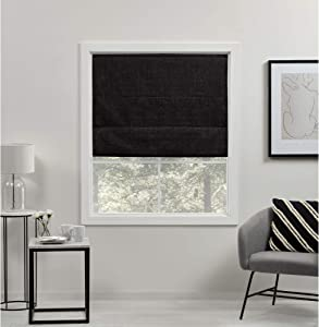 Exclusive Home Curtains Acadia Total Blackout Roman Shade, 23x64, Black