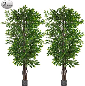 Woooow 2 Pack 6.5'/pc Ficus Silk Tree,Artificial Tree Ficus Tree with Green Leaves and Natural Trunk, Beautiful Fake Plant for Living Room Balcony Corner Decor,Indoor-Outdoor Use