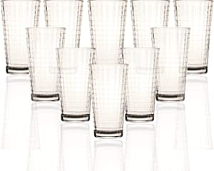 Circleware Matrix Huge Set of 10-15.7 oz, Highball Tumblers Drinking Glasses, Heavy Base Ice Tea Beverage Cups Glassware for Water, Beer, Juice, Bar, 10pc