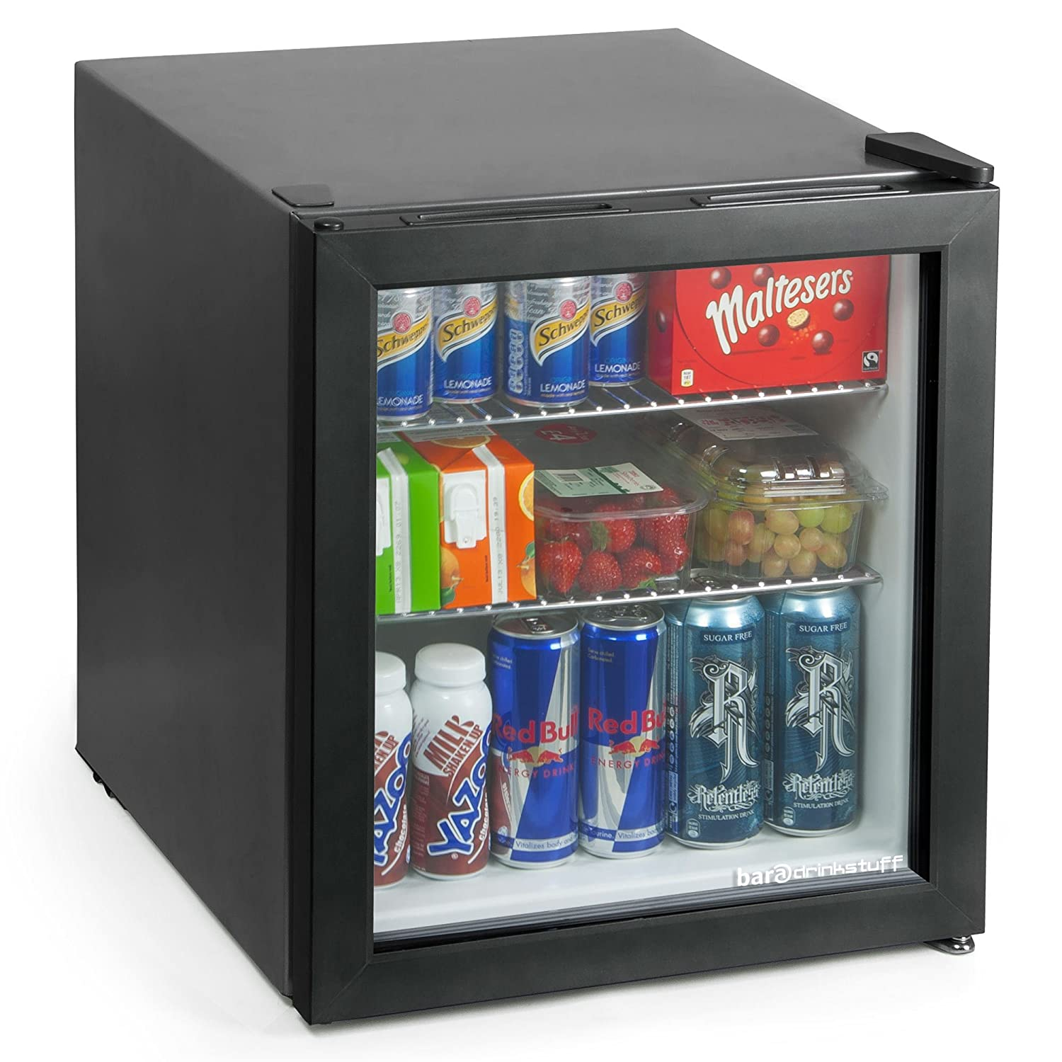 bar@drinkstuff Frostbite Mini Fridge Black - 49ltr Compact Refrigerator Holds 45 x 330ml Cans | A+ Energy Rating